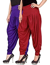 Navyataa Women's Lycra Dhoti Pants For Women Patiyala Dhoti Lycra Salwar Free Size (Pack Of 2) Voilet & Red