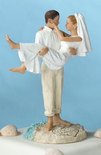 &quot;Just Married&quot; Beach Wedding Figurine/ Cake Topper- Caucasian