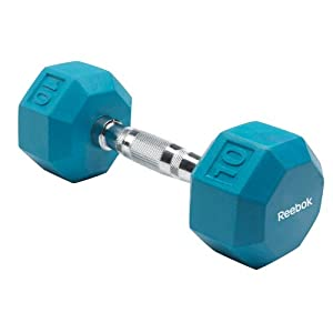 Reebok Rubber Hex Dumbbell (10-Pounds, Blue Spark)