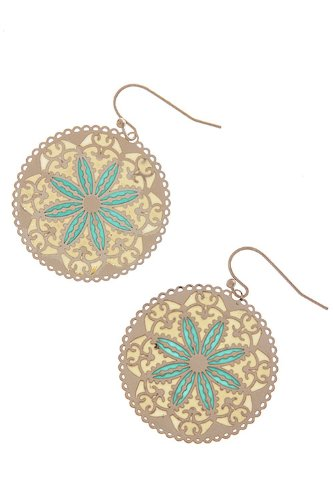 Karmas Canvas Printed Motif Earrings (Mint)