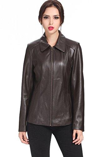 "BGSD Women's ""Miranda"" Missy & Plus Size New Zealand Lambskin Leather Jacket - Brown Plus 2X"
