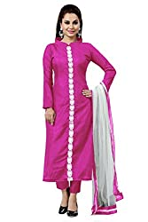 Pink Banglori Silk Embroidered Unstitched Dress Material
