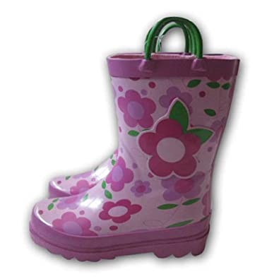 Little Girl's Pink Flower Rain Boots Sizes 11/12