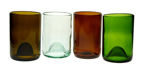 4 Pack Tumbler Glasses (12Oz) 1 Of Each:Olive,Amber,Green,Clear