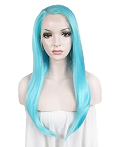 Stunning Long Straight Heat Resistant Cosplay Hot Neon Blue Wig Synthetic Lace Front Wig