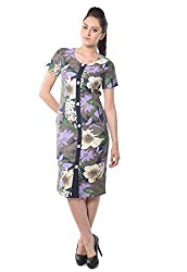 iamme Bold Printed floral shirt dress with half sleeves in cotton twill fabric