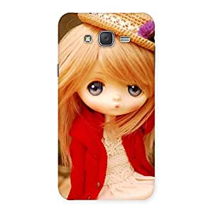 Ajay Enterprises Red Coat Cute Girl Back Case Cover for Galaxy J7