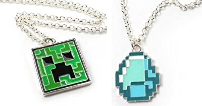 Minecraft Creeper Diamond Pendant Necklace Set Of 2 Official Product From Mojang by MINECRAFT