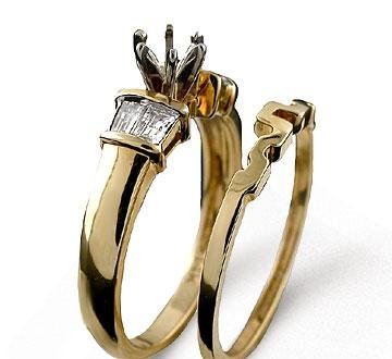 14k Yellow Gold Baguette 1/3 Carat Diamond Bridal Set