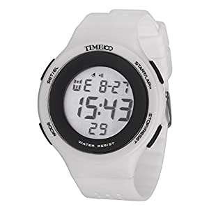 TIME100 Multifunction LCD Round Dial White Silicone Strap Outdoor Sports Digital Watch #W40109M.03A