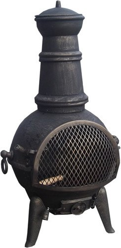 Black / bronze 85cm Cast Iron/Steel Chimnea Patio Heater/Cooking BBQ Grill Fire Chiminea