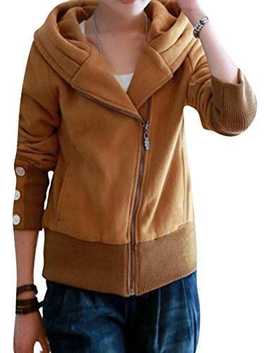 NQ Women's Full-Zip Essential Long Sleeve Sweatshirts Khaki L