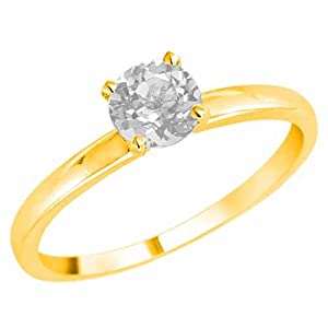 DivaDiamonds 18K Yellow Gold Round Solitaire White Quartz Ring (0.95 cttw) - Size 8