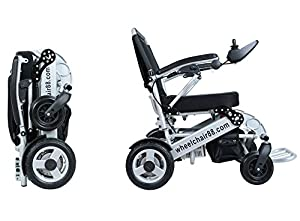 Stylish heavy duty Foldawheel PW-1000XL with a thick & tuff Travel Bag. Electric power motorized Wheelchair foldable in amazing 2 seconds. Only 55 lbs with Polymer Li-ion Battery.