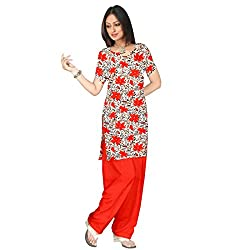 Shopeezo Off White and Red Colored Poly Cotton Printed Dress Material