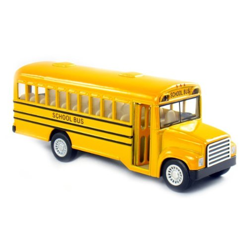 "5"" Die Cast Long-Nose School Bus with Pull-Back Action and Open-able Doors - 1"