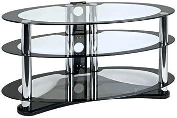 """Centurión GT8 Ovalado Contemporáneo Diseño Negro Plasma/LCD 26""""-50"""" Estante de Cristal"""