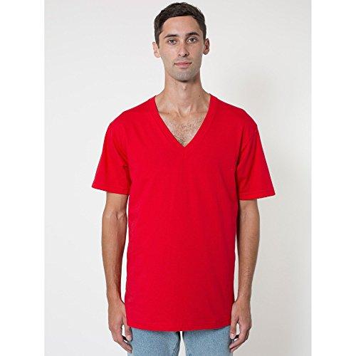 american-apparel-t-shirt-a-manches-courtes-et-col-en-v-homme-m-rouge