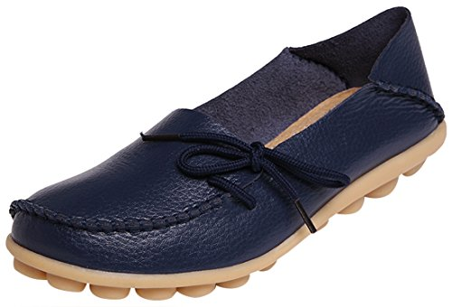 Serene Womens Leather Cowhide Casual Lace Up Flat Driving Shoes Boat Slip-On Loafers (9.5B(M)US, Dark Blue)