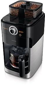 Philips HD7762/00 Grind und Brew Kaffeemaschine aus Edelstahl, doppelter Bohnenbehälter, Timer, Silber/Schwarz