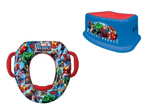 Marvel Heroes Potty and Step Stool Combo Set, Blue