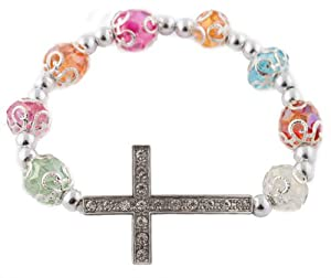 3 Pieces of Silver with Multi Iced Out Sideways Cross Ornamental Style Beaded Stretch Bracelet