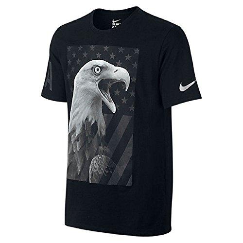 Nike Mens Team USA Eagle T-Shirt Black/Metallic Silver 801159-010 (Large)