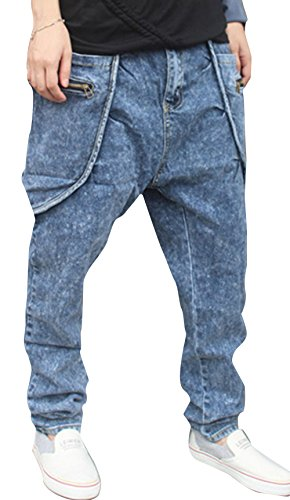 Mper Men'S Blue Jeans Harem Pants Slacks Casual Loose Trouser M(30)