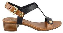 Anne Klein Women\'s Ebber Dress Sandal, Navy/Cognac, 6.5 M US