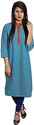 BluePocket Women's Cotton Regular Fit Kurta (SKU001-Blue _ Large)