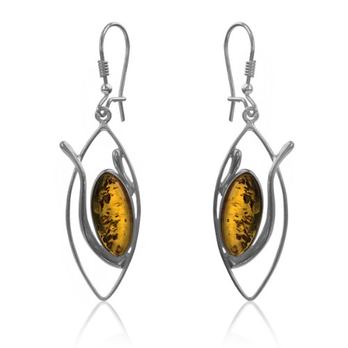 Sterling Silver Honey Amber Marquise-shaped Earrings