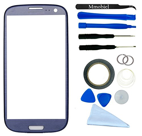 Samsung Galaxy S3 I9300 I747 T999 I939 I535 R530 Blue Display Touchscreen Replacement Kit 12 Pieces Including 1 Replacement Front Glass For Samsung Galaxy S3 I9300 I747 T999 I939 I535 R530 / 1 Pair Of Tweezers / 1 Roll Of 2Mm Adhesive Tape / 1 Tool Kit /