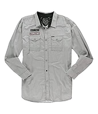 Marc ecko mens logo button up shirt cigargrey s at amazon for Marc ecko dress shirts