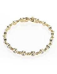 M&S Collection Gold Plated Diamanté Tennis Bracelet