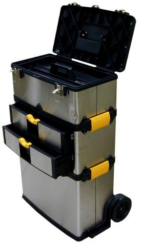Three-Chest Professional-Grade Stainless Steel Portable Tool Storage System - Extending Handle - Roller Wheels