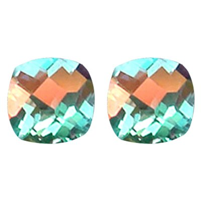 3.50 Cts of AAA 7 mm Cushion Checker Board Pair Matching Loose Mercury Mystic Topaz ( 2 pcs set ) Gemstones