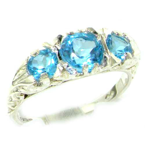 Luxury Ladies Solid Sterling Silver Natural Blue Topaz Victorian Trilogy Ring - Size 12 - Finger Sizes 5 to 12 Available - Suitable as an Anniversary ring, Engagement ring, Eternity ring, or Promise ring