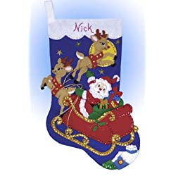 Design Works Felt Applique Christmas Tree Stocking Santa Moonlit Ride Craft Kit for Xmas