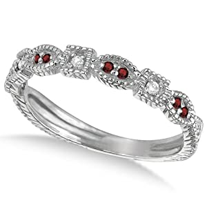 0.15ct Womens Unique Round Red Garnet Gemstone and Diamond Vintage Stackable Ring 14k White Gold