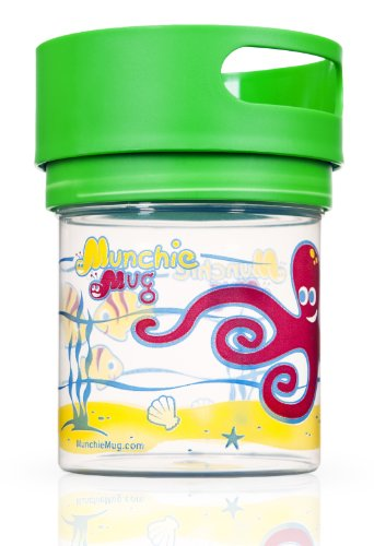 Munchie Mug – Top Rated Spill Resistant Snack Cup for Toddlers. Ages 1 to 4 years. Made in AMERICA. – BPA and phthalate free. FDA compliant materials. – Green Top