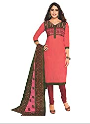 M.S. Boutique - Unstitched Cotton Dress Material - Pink- (MS-SBT-220)