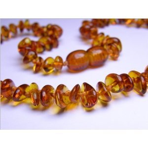 Certified Baltic Amber Teething Necklace for Baby (honey chip) - Anti-inflammatory - 1
