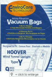 Generic Hoover WindTunnel Upright Type Y Vacuum Bags Microfiltration with Closure and Dust Window - 9 Pack, Compare With Hoover Part # 4010100Y