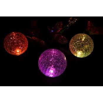 Solaration174; Crackle Glass Globe Solar Lawn Light, 3.5