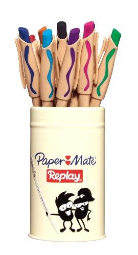 paper-mate-replay-kugelschreiber-mit-loschbarer-tinte-medium-verschiedene-farben-12-stuck