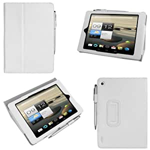 """[Bamboo] 7.9"""" Acer Iconia A1 A1-810 Smart Cover Étui Housse en PU Cuir Avec Support Fonctions Pour 7.9"""" Acer Iconia A1 A1-810 +Stylo,Blanc"""