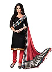 Asha Fashin Women's Bhagalpuri Printed Black Color Dress Materials.