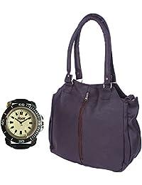 Arc HnH Women HandBag + Watch Combo - Contemporary Dark Brown Handbag + Sports Black Watch