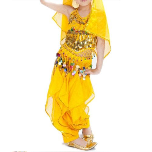 [BellyLady Kid Tribal Belly Dance Halloween Costume, Harem Pants & Halter Top YELLOW-M] (Best Halloween Costumes Ideas)