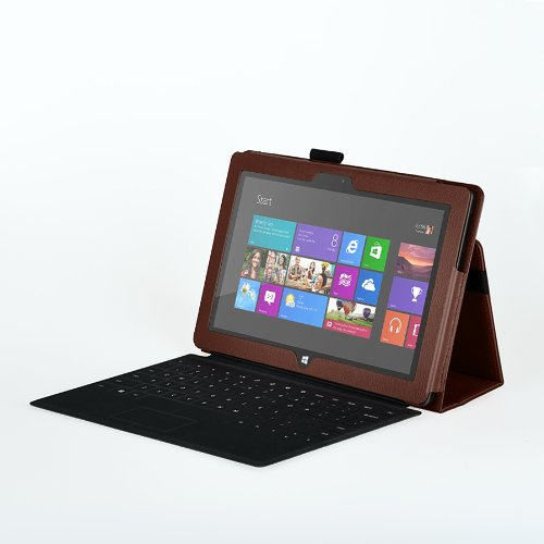 Elsse (TM) Premium Folio Case with Stand for Microsoft Surface RT / Surface 2 (Does not fit Surface Pro Version / Keyboard and Tablet NOT included) (Surface 2 / Surface RT, Brown)